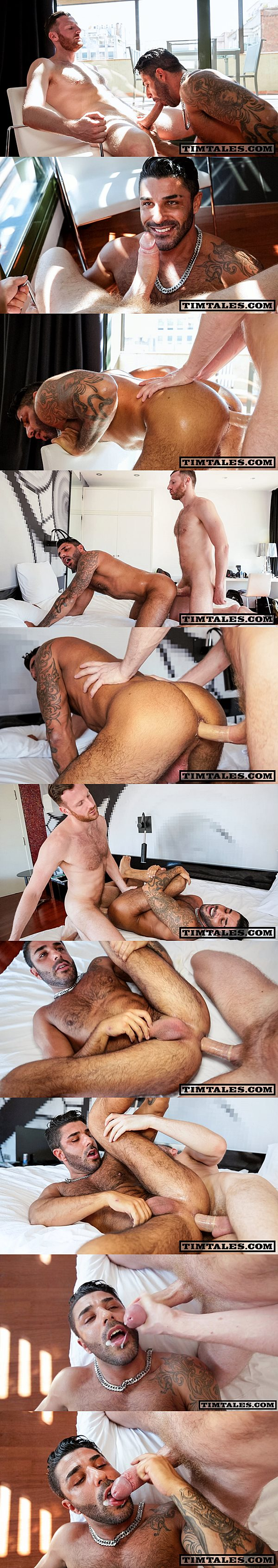 Horse hung Tim Kruger plows sexy hairy stud Raul Korso's tight ass at Timtales 02