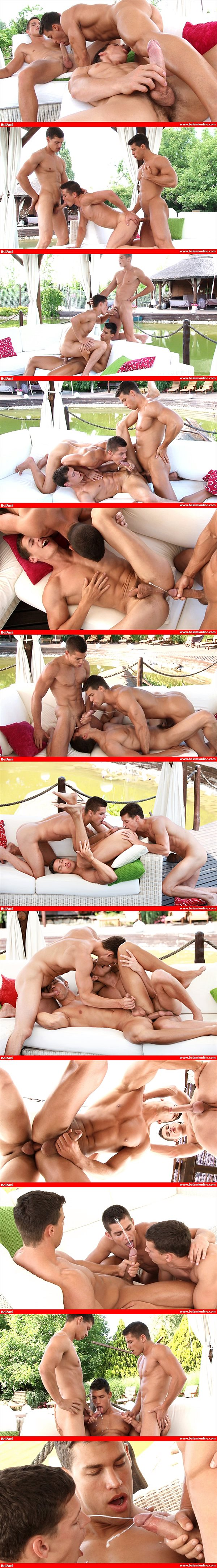 Superstar Kris Evans gets his perfect ass barebacked for the first time by Adam Archuleta and Jean-Daniel Chagall at Belamionline 02