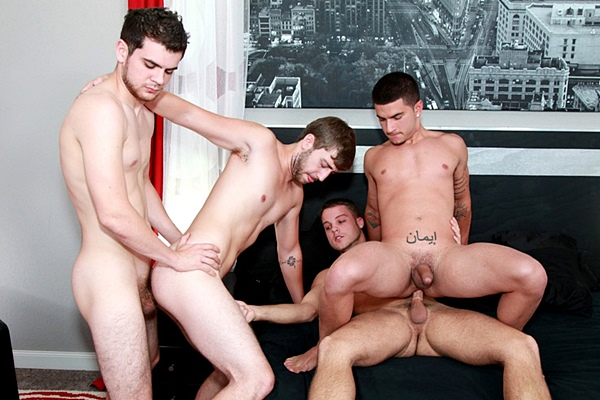 Blake Savage and Zeno Kostas fuck Brandon Beal and Vadim Black till they shoot four big loads at Brokestraightboys