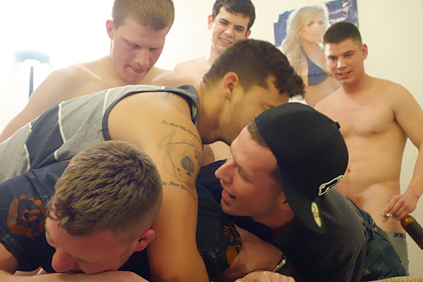 Hot blond muscle jock owen michaels gets his tight virgin ass barebacked and creampied in Gag and Tag at Fraternityx