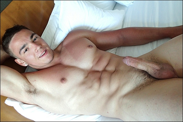 Handsome new muscle jock Nathan Di Antonio shoots two creamy loads of cum at Gayhoopla