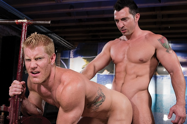 Power top Jimmy Durano fucks the cum out of hot blond muscle jock Johnny V in Dirty Fuckers at Hothouse