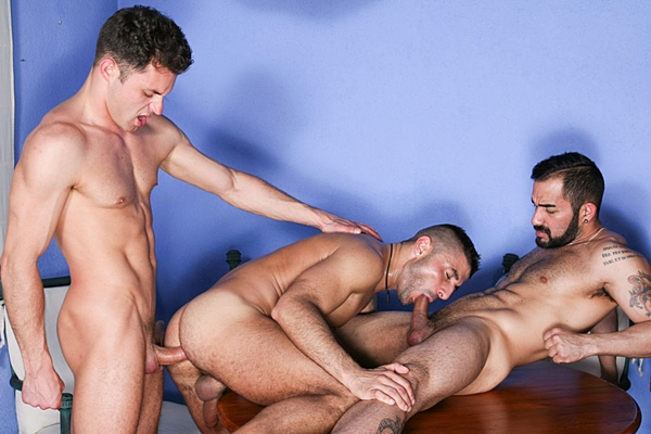 Angel Lobo Barebacks James Castle and Max Toro with hot creampie in On the Prowl at Kristenbjorn