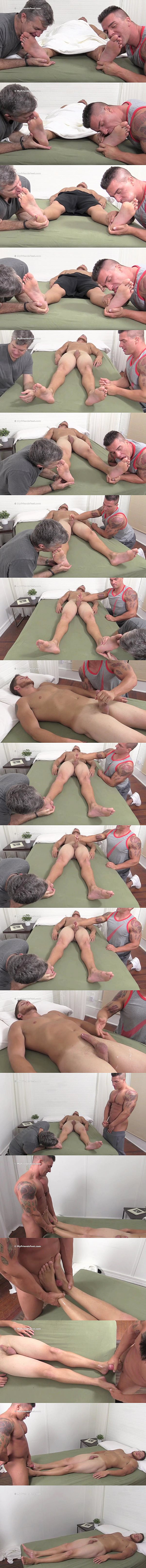 Braden Charron worships sleeping Marshall's big feet before he jerks the cum out of Marshall's hard cock and foot fucks Marshall till he cums at Myfriendsfeet 02