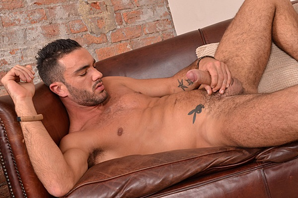Handsome Portuguese go-go dancer Alejandro Alvarez shoots his big thick load at Blakemason
