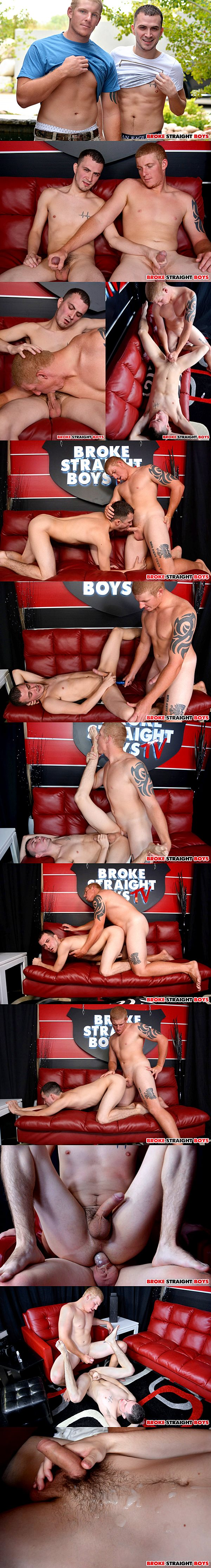 Redhead jock Conner Chesney fucks hot newcomer David Hardy's tight virgin ass at Brokestraightboys 02