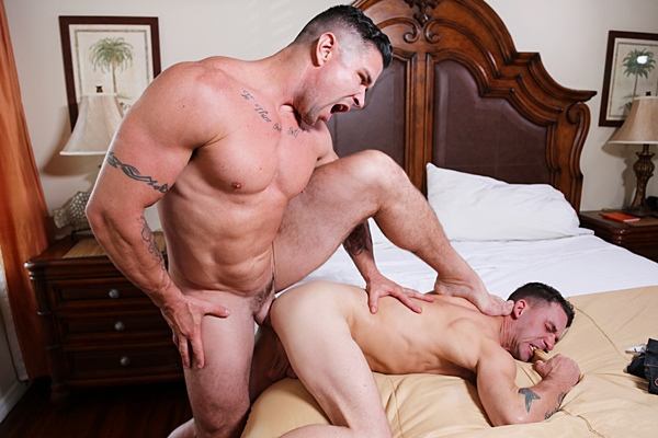 Trenton Ducati power fucks James Hamilton until he pounds a big load out of James in Tops & Robbers at Highperformancemen