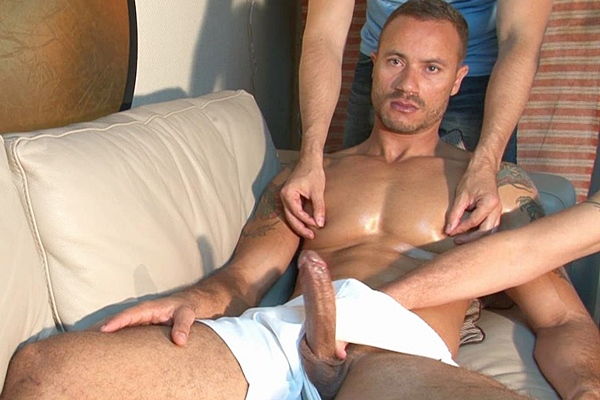 Sexy masculine straight hunk vitor gets massaged by four hands until he strokes a big thick load out of his hard pole at Keumgay
