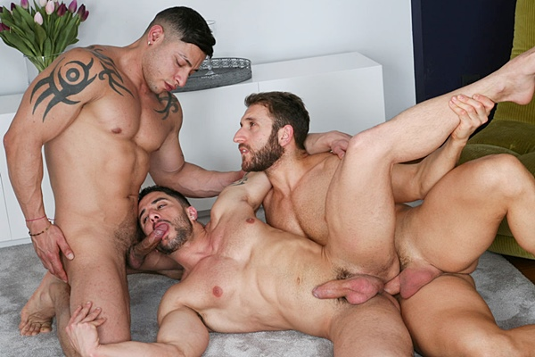 Naughty Gay Hunk Threesome
