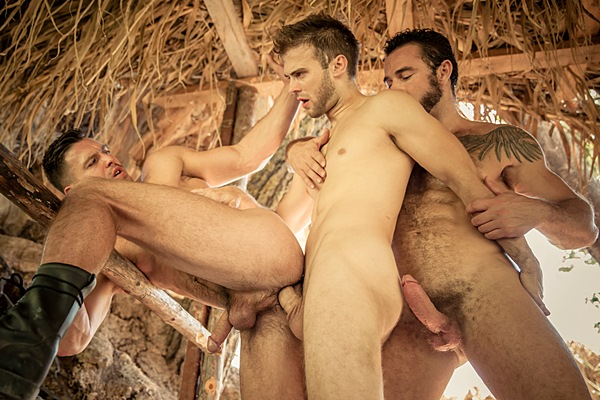 Gabriel Clark and Jessy Ares take turns fucking Paddy O'Brian in Howl Part 2 at Drillmyhole