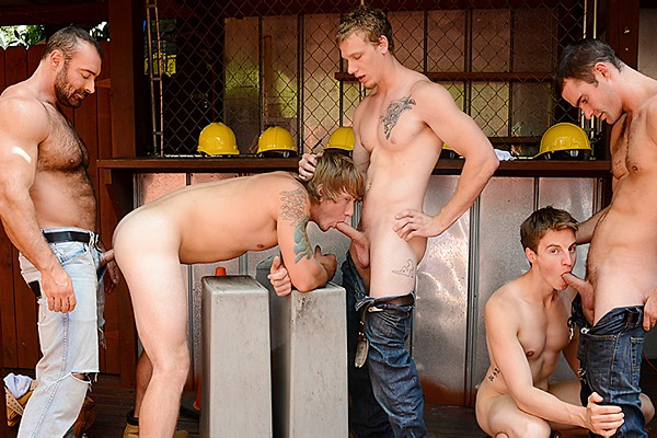 A Sneak Peek of Brad Kalvo, Cameron Kincade and Johnny Forza fucking Matthew Ryder and Tom Faulk in Daddy's Workplace Part 4 at Jizzorgy
