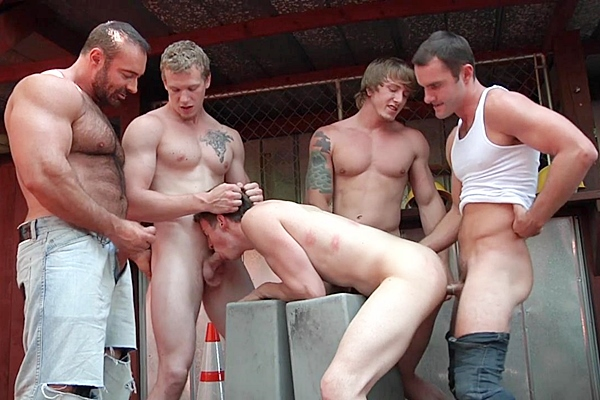 A Sneak Peek of Brad Kalvo, Cameron Kincade and Johnny Forza fucking Matthew Ryder and Tom Faulk in Daddy's Workplace Part 4 at Jizzorgy 01