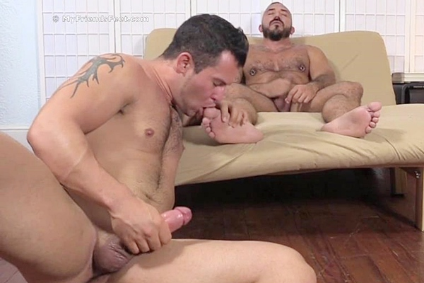 Handsome muscle jock Derrick worships Alessio Romero's size 11 big feet until they shoot their creamy loads at Myfriendsfeet