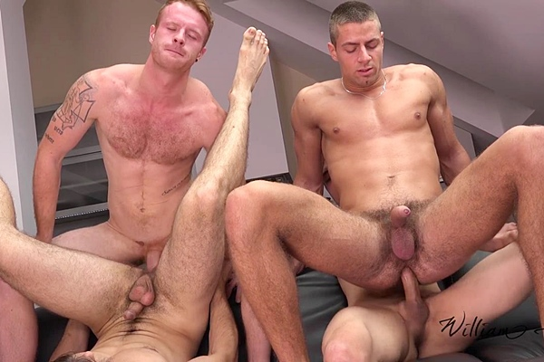 Jirka Mendez & Tom Vojak bareback Arny Donan & Viktor Burek in Wank Party 2014 #7 Part 2 RAW at Williamhiggins