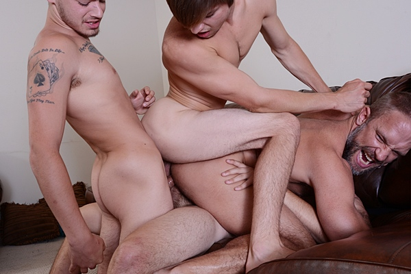 Hot young men Asher Hawk, Johnny Rapid and Trevor Spade triple penetrate muscle daddy Dirk Caber in Stepfather's Secret Part 8 at Jizzorgy