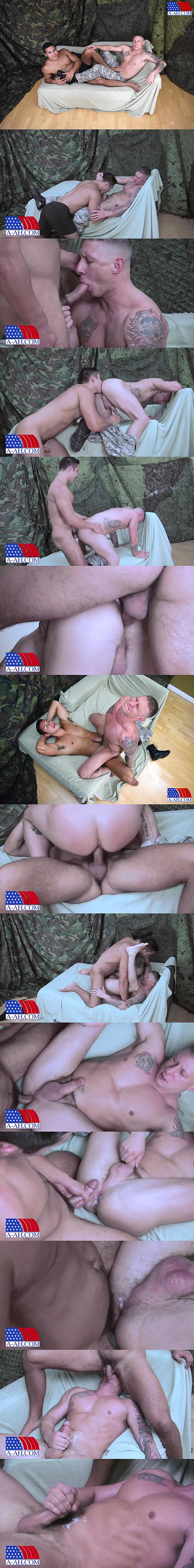 Seth Treston barebacks and breeds masculine stud Tyler Griz in Private Seth Fucks Private Tyler at All-americanheroes 02