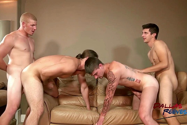 Cage Kafig, Connor Chesney, Jared King and Kip Johnson bareback each other with hot creampie in The Bare Fuck Project at Dallasreeves