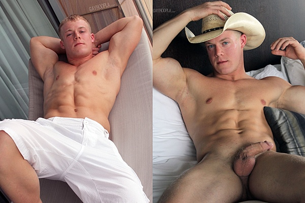 Hot muscle jock Colt McClaire shoots his two big thick loads of cum in Colt Mclaire in Cowboy Colt Jerks Off at Gayhoopla