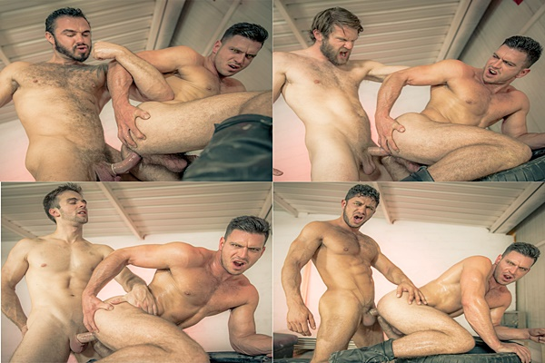 Muscle hunks Colby Keller, Dato Foland, Gabriel Clark and Jessy Ares gangbang Paddy O'Brian in Howl Part 4 at Jizzorgy