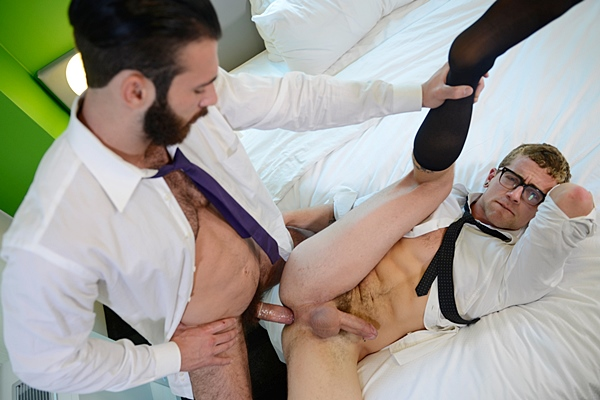 Jarec Wentworth fucks a super big load out of hot blond new jock Jay Austin in Executive Suite Part 2 at Thegayoffice