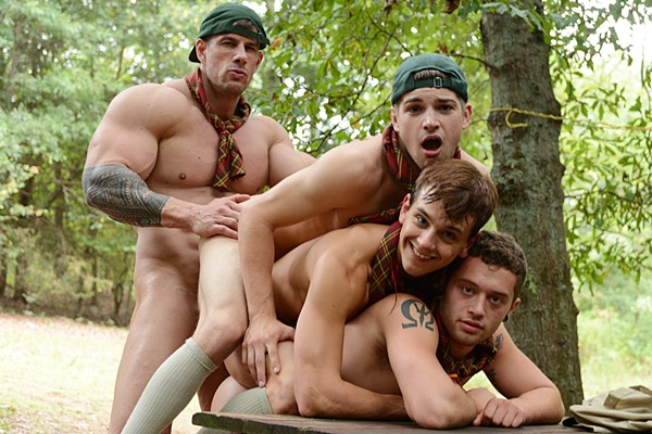 Muscle god Zeb Atlas fucks hot twinks CK Steel, Jack Radley, Johnny Rapid and Zac Stevens in Scouts Part 4 at Jizzorgy