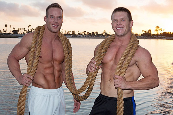 Jack barebacks hot muscle jock Rusty's virgin ass before he creampies Rusty twice at Seancody