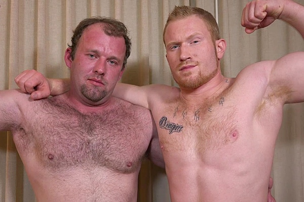 Behind the Scenes of muscle daddy Chance fucking masculine ginger stud Colby's virgin ass at Theguysite