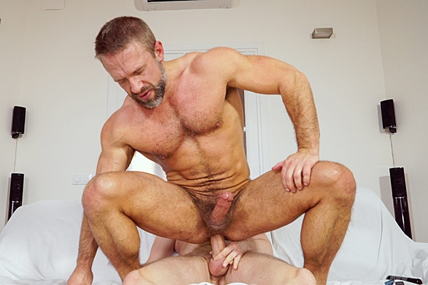 Tim Kruger plows Dirk Caber's muscle ass until he fucks a big load out of Dirk at Timtales