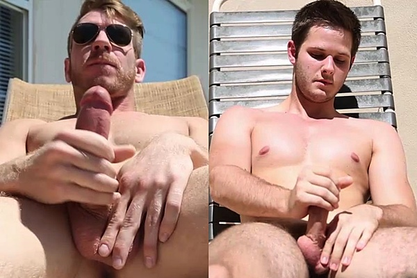 Hot new jocks Jaxson Woods & Nick Blaize enjoy the sunbath before they shoot their hot loads at Voyeurboys