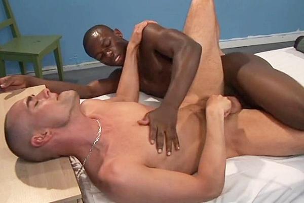 Big-dicked black stud Brandon Bash barebacks hot skinhead Enrique Currero in Drilled by the Drill Sargeant at Blacknhung