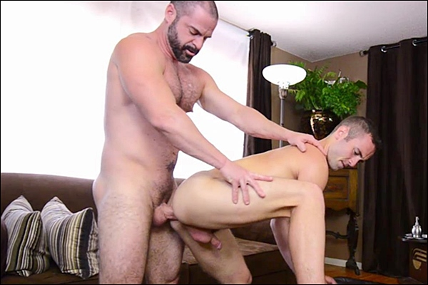 Bishop Angus barebacks Elder Riley until he pounds a big load out of Riley in Elder Riley's Inspection at Mormonboyz