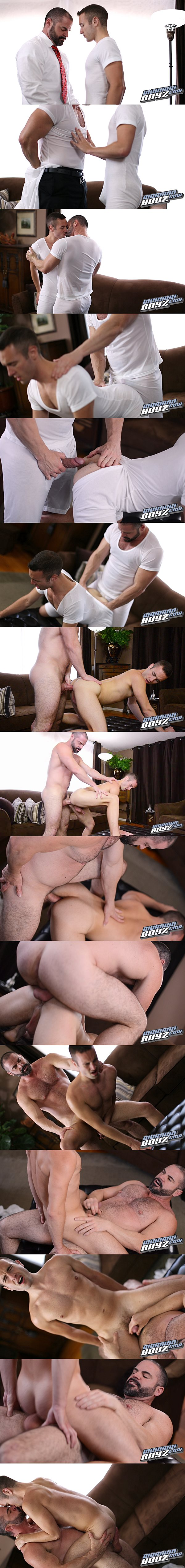 Bishop Angus barebacks Elder Riley until he pounds a big load out of Riley in Elder Riley's Inspection at Mormonboyz 02