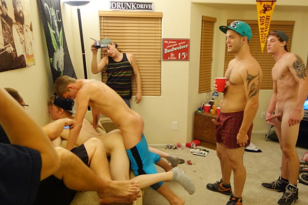 Hot frat boys Sage, Liam, Ryan & Marc gangbang bareback freshman dude Jay with four hot facials at Dick Cleaner in Fraternityx