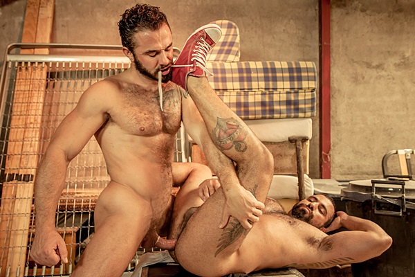 Sexy hairy muscle hunks real couple Jessy Ares & Ricky Ares take turns fucking each other with mutual facials in Last Goodbye at Men