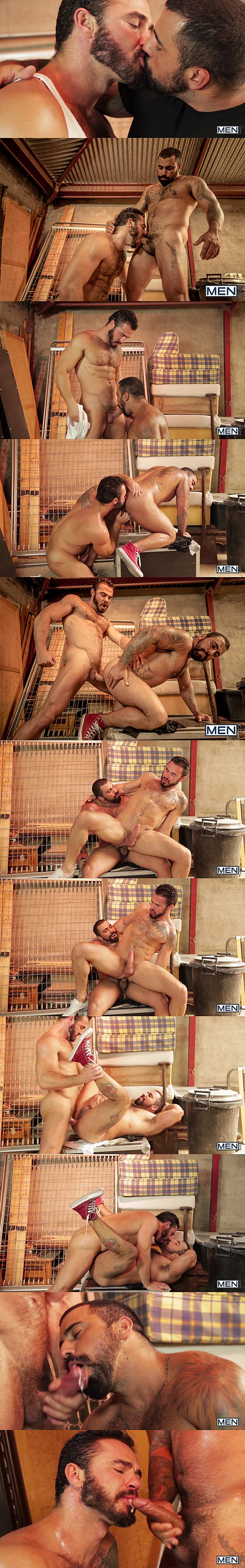 Sexy hairy muscle hunks real couple Jessy Ares & Ricky Ares take turns fucking each other with mutual facials in Last Goodbye at Men 02
