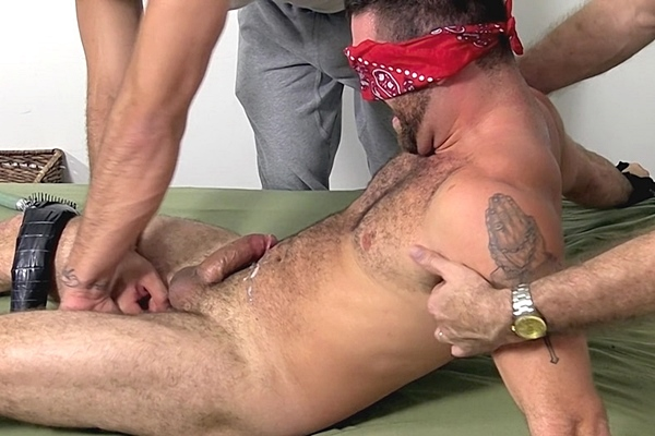 Ricky Larkin and a foot master tickle masculine muscle jock Seth before they stroke a big load out of Seth's hard cock at Myfriendsfeet