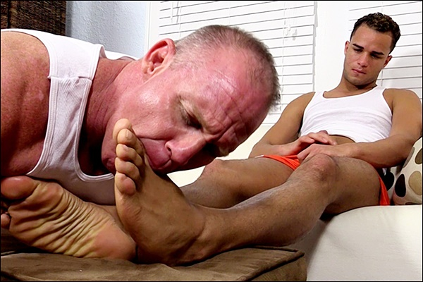 Foot master Dev worships hot dark skinned hunk Javi until Javi strokes his hot load out of his hard cock at Myfriendsfeet