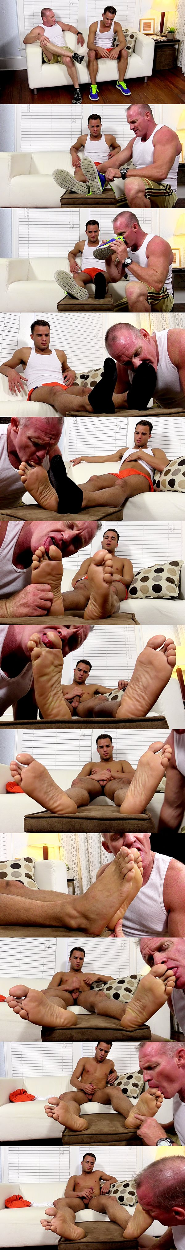 Foot master Dev worships hot dark skinned hunk Javi until Javi strokes his hot load out of his hard cock at Myfriendsfeet 02