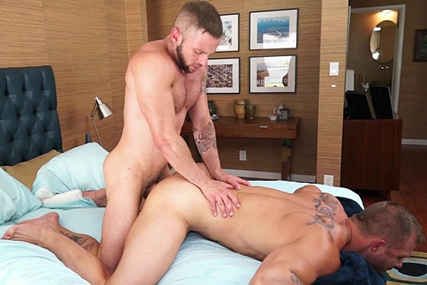 Muscle hunk Austin Wolf and Tyler Wolf flip-fuck before they shoot four creamy loads at Randyblue