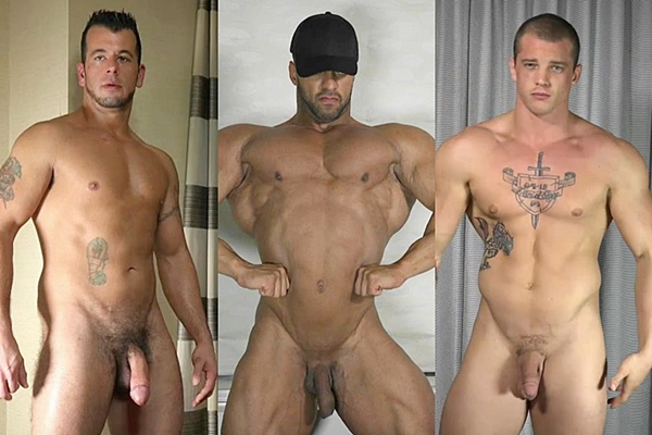 Sexy muscle hunks Mario, Titan and Ty show off their hot naked bodies before they shoot their hot loads at Theguysite