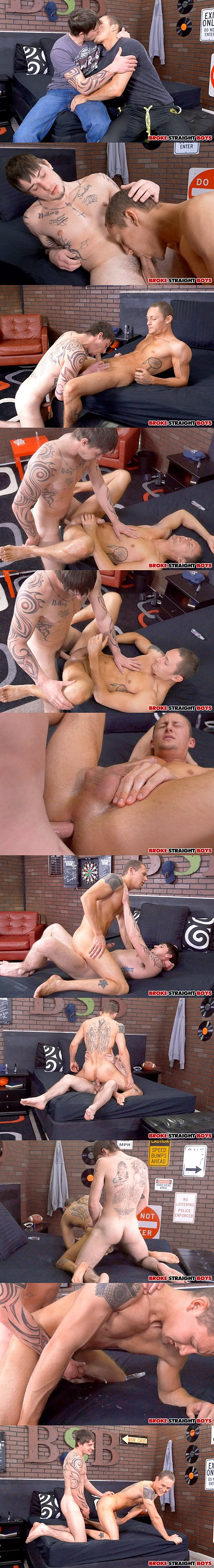 Cage Kafig barebacks hot ripped jock Trevor Laster before he fucks a big load out of Trevor at Brokestraightboys 02