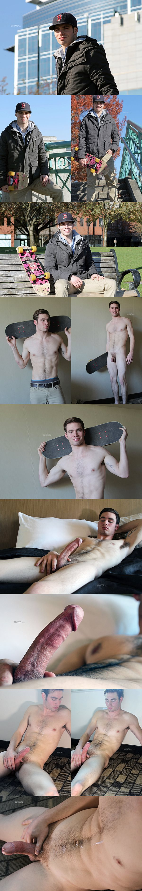 Handsome skateboarder James Olsen shows off his hot naked body before he shoots two creamy loads at Gayhoopla