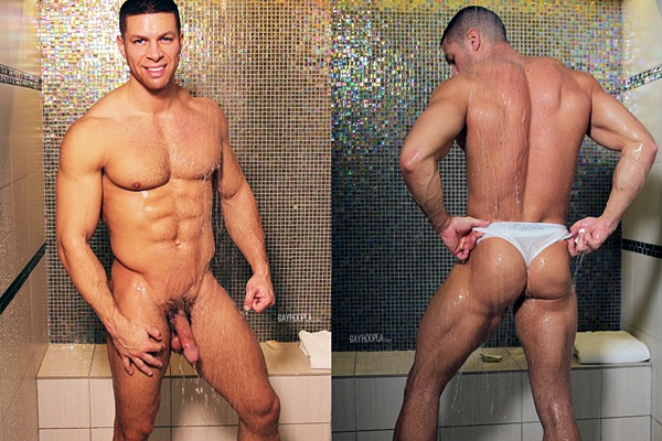 Hot new muscle Jock Sean Costin shows off his sexy naked body and shoots two big loads at Gayhoopla