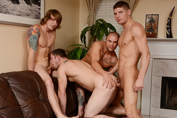 Tom Faulk and Connor Halstead fuck Eli Hunter and Jared Summers until they get Tom a hot cum shower in The Straight Man Part 4 at Jizzorgy