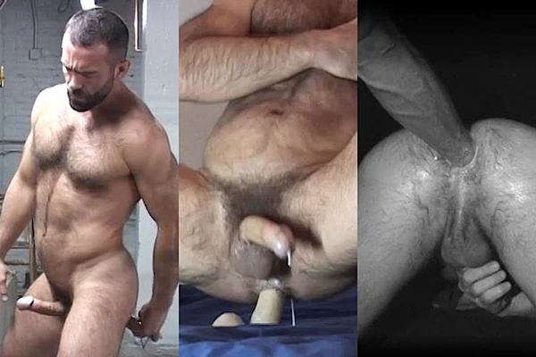 Ray Dragon takes a wrench, a fist and a dildo up his hot muscle ass until he shoots his hot cum at Raydragon