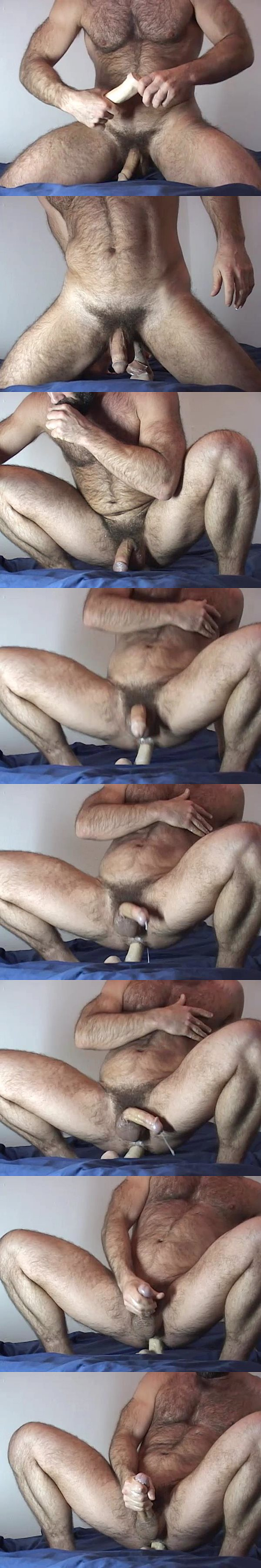 Ray Dragon rides a big dildo until he shoots his hot cum twice at Raydragon