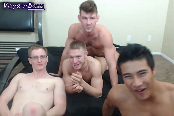 Hot athletic jocks Dustin Jones, Jacob Peterson, Ken Ott and Zane Pierce have a hot group live show in Valentine Orgy at Voyeurboys