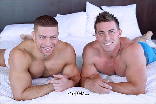 A sneak peek of hot football player Derek Jones fucking sexy muscle jock Sean Costin's tight virgin ass at Gayhoopla