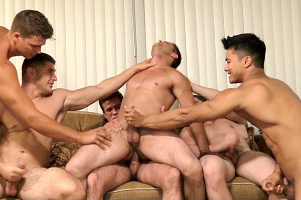 Sexy athletic jocks Brody James, Cole Money, Jeff Niels, Ken Ott, Max Summerfield and Phillip Anadarko have a hot orgy in Edge of Desire Finale at Gayhoopla