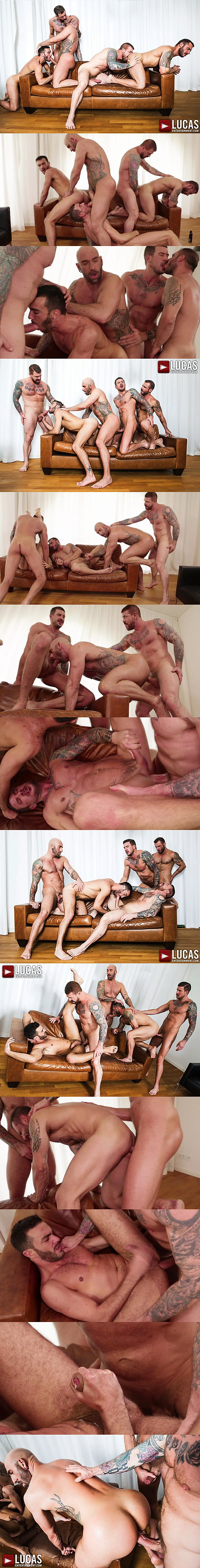 Rocco Steele barebacks Alejandro Alvarez, Dolf Dietrich, Drew Sebastian and Pedro Andreas in Jump into Rocco Steele's Breeding Party at Lucasentertainment 02